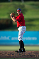 Kannapolis Intimidators relief pitcher Mick VanVossen (39) looks to his catcher for the sign against the Delmarva Shorebirds at Kannapolis Intimidators Stadium on July 2, 2017 in Kannapolis, North Carolina.  The Shorebirds defeated the Intimidators 5-4.  (Brian Westerholt/Four Seam Images)