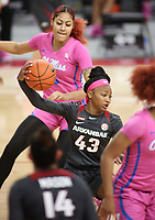 Makayla Daniels, with the University of Arkansas Razorback Women's basketball team, secures a rebound against the University of University of Mississippi Friday, February 19, 2021, at Bud Walton Arena on the campus of the University in Fayetteville. Check out nwaonline.com/210220Daily/ and nwadg.com/photos for a photo gallery.<br /> (NWA Democrat-Gazette/David Gottschalk)