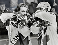 1981 FILE PHOTO - ARCHIVES -<br /> <br /> A tough loss: Guy Lafleur; left; and Wayne Gretzky; stars of the Canada Cup hockey series; have good reason to be unhappy as they talk over last night's stunning defeat by a powerhouse Soviet squad that pummelled them 8-1. U.S.S.R. goalie Vladislav Tretiak stole the glory from Team Canada's snipers at Montreal Forum and his teammates almost made off with the $70;000 trophy.<br /> <br /> 1981<br /> <br /> PHOTO :  Doug Griffin  - Toronto Star Archives - AQP