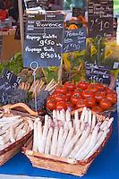Street market merchant's stall with white asparagus, tomatoes Sanary Var Cote d'Azur France