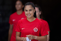 ORLANDO, FL - FEBRUARY 21: Jordyn Listro #21 of the CANWNT walking out of the tunnel before a game between Argentina and Canada at Exploria Stadium on February 21, 2021 in Orlando, Florida.