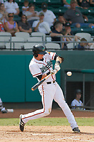 Down East Wood Ducks third baseman Josh Altmann (5) at bat during a game against the Salem Red Sox at Grainger Stadium on April 16, 2017 in Kinston, North Carolina. Salem defeated Down East 9-2. (Robert Gurganus/Four Seam Images)