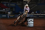 Katelyn Scott during the second round of barrel qualifiers at the WCRA Stampede at the E. Photo by Andy Watson