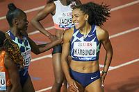 26th August 2021; Lausanne, Switzerland;  Mujinga Kambundji of Swiotzerland after for womens 100m won by Shelly-Ann Fraser-Pryce during Diamond League athletics meeting  at La Pontaise Olympic Stadium in Lausanne, Switzerland.