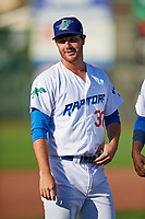 Jeff Paschke (30) of the Ogden Raptors before the game against the Orem Owlz in Pioneer League action at Lindquist Field on June 21, 2017 in Ogden, Utah. The Owlz defeated the Raptors 16-5. This was Opening Night at home for the Raptors.  (Stephen Smith/Four Seam Images)