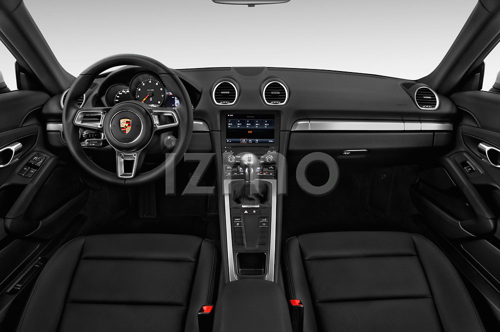 Stock photo of straight dashboard view of 2017 Porsche 718 Cayman 3 Door Coupe Dashboard