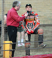 World Champion Tai Woffinden is interviewed during the meeting  - Lakeside Hammers vs Wolverhampton Wolves, Elite League Speedway at the Arena Essex Raceway, Pufleet - 04/07/14 - MANDATORY CREDIT: Rob Newell/TGSPHOTO - Self billing applies where appropriate - 0845 094 6026 - contact@tgsphoto.co.uk - NO UNPAID USE