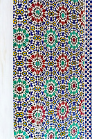 Fes, Morocco.  Mosaic Tilework in the Gateway to the Dar El Makhsen, the King's Palace, Fes El Jedid.