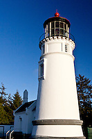 A view of the northwest side of the Umpqua River Lighthouse at Winchester Bay on the Oregon coast.