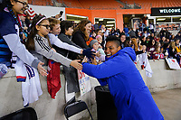 HOUSTON, TX - JANUARY 31: Adrianna Franch #12 fans of the United States celebrate during a game between Panama and USWNT at BBVA Stadium on January 31, 2020 in Houston, Texas.
