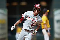 Peyton Graham (20) of the Oklahoma Sooners rounds third base after hitting a home run against the Missouri Tigers in game four of the 2020 Shriners Hospitals for Children College Classic at Minute Maid Park on February 29, 2020 in Houston, Texas. The Tigers defeated the Sooners 8-7. (Brian Westerholt/Four Seam Images)