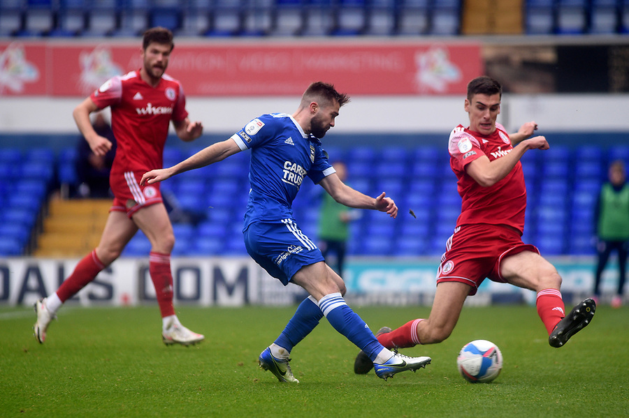 Ipswich Town's Gwion Edwards scores his side's first goal  <br /> <br /> Photographer Hannah Fountain/CameraSport<br /> <br /> The EFL Sky Bet League One - Ipswich Town v Accrington Stanley - Saturday 17th October 2020 - Portman Road - Ipswich<br /> <br /> World Copyright © 2020 CameraSport. All rights reserved. 43 Linden Ave. Countesthorpe. Leicester. England. LE8 5PG - Tel: +44 (0) 116 277 4147 - admin@camerasport.com - www.camerasport.com