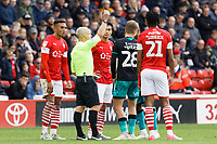 George Byers of Swansea City (28) sees a yellow card from referee Andy Woolmer during the Sky Bet Championship match between Barnsley and Swansea City at Oakwell Stadium, Barnsley, England, UK. Saturday 19 October 2019