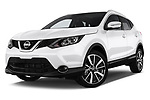 Stock pictures of low aggressive front three quarter view of 2014 Nissan Qashqai Tekna 5 Door SUV
