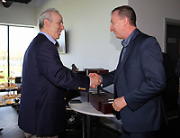 Pictured L-R: Steve Kaplan gives Huw Jenkins an award Tuesday 04 April 2017<br /> Re: Official opening of the Fairwood Training Complex of Swansea City FC, Wales, UK