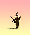 Concept image of a young schoolboy with a backpack and a machine gun walking, depicting guns in schools