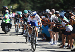 João Almeida (POR) Deceuninck-Quick Step in the lead group towards the end of Stage 5 of the Vuelta a Burgos 2020, running 158km from the Covarrubias to Lagunas de Neila, Spain. 1st August 2020. <br /> Picture: Colin Flockton | Cyclefile<br /> <br /> All photos usage must carry mandatory copyright credit (© Cyclefile | Colin Flockton)
