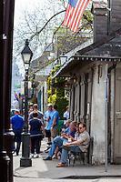 French Quarter, New Orleans, Louisiana.  Jean Lafitte's Blacksmith Shop Bar, Bourbon Street.  Built between 1722-32.