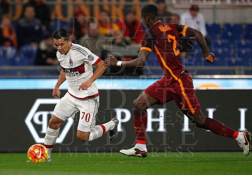 Calcio, Serie A: Roma vs Milan. Roma, stadio Olimpico, 9 gennaio 2016.<br /> AC Milan's Carlos Bacca, left, is challenged by Roma's Antonio Ruediger during the Italian Serie A football match between Roma and Milan at Rome's Olympic stadium, 9 January 2016.<br /> UPDATE IMAGES PRESS/Riccardo De Luca
