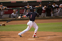 AZL Indians 1 shortstop Marcos Gonzalez (1) hits a walk-off single during an Arizona League game against the AZL White Sox at Goodyear Ballpark on June 20, 2018 in Goodyear, Arizona. AZL Indians 1 defeated AZL White Sox 8-7. (Zachary Lucy/Four Seam Images)