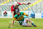 Maurice O'Connor, Kerry in action against Gerard Hughes, Down during the National hurling league between Kerry v Down at Austin Stack Park, Tralee on Sunday.
