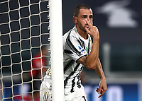 Calcio, Serie A: Juventus - Sampdoria, Turin, Allianz Stadium, September 20, 2020.<br /> Juventus' Leonardo Bonucci celebrates after scoring during the Italian Serie A football match between Juventus and Sampdoria at the Allianz stadium in Turin, September 20,, 2020.<br /> UPDATE IMAGES PRESS/Isabella Bonotto