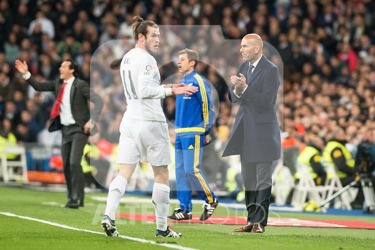 Real Madrid's Gareth Bale and coach Zinedine Zidane and Sevilla FC's  during La Liga match. March 20,2016. (ALTERPHOTOS/Borja B.Hojas)