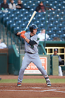 Jacob Gonzalez (18) of the Augusta GreenJackets at bat against the Greensboro Grasshoppers at First National Bank Field on April 10, 2018 in Greensboro, North Carolina.  The GreenJackets defeated the Grasshoppers 5-0.  (Brian Westerholt/Four Seam Images)