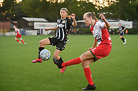 Ella Vierendeels (4) of Zulte waregem and Perrine Balant (9) of Sporting du Pays de Charleroi  pictured during a female soccer game between Sporting Charleroi and SV Zulte-Waregem on the third matchday in the 2021 - 2022 season of Belgian Scooore Womens Super League , friday 3 September 2021 in Marcinelle , Belgium . PHOTO SPORTPIX | STIJN AUDOOREN
