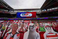 Cardboard cut out spectators, including a cat, during the Sky Bet League 2 PLAY-OFF Final match between Exeter City and Northampton Town at Wembley Stadium, London, England on 29 June 2020. Photo by Andy Rowland.