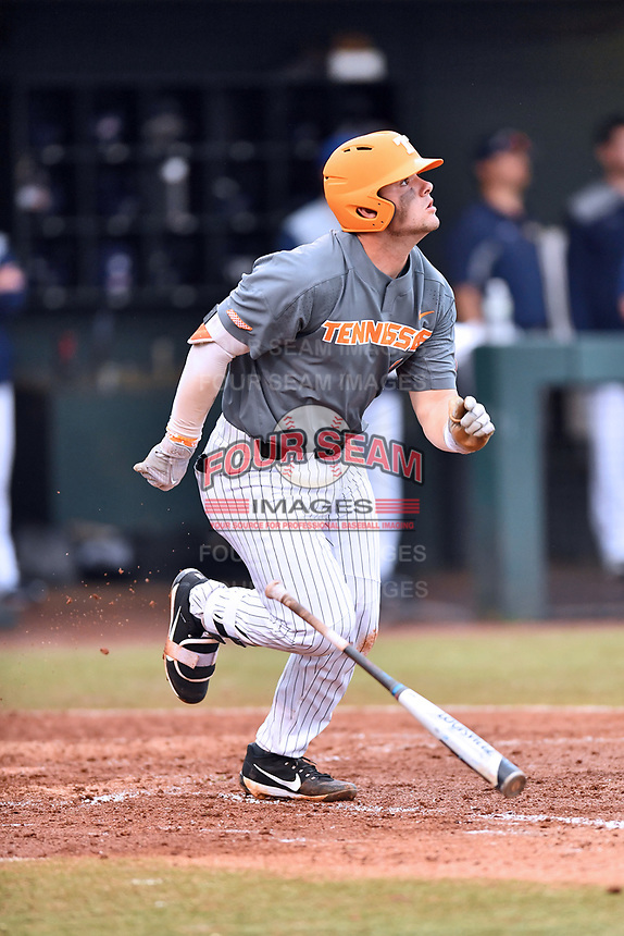 Tennessee Volunteers first baseman Pete Derkay (10) swings at a pitch during a game against the University of North Carolina Greensboro (UNCG) Spartans at Lindsey Nelson Stadium on February 24, 2018 in Knoxville, Tennessee. The Volunteers defeated Spartans 11-4. (Tony Farlow/Four Seam Images)