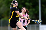 GER - Hannover, Germany, May 31: During the Women Lacrosse Playoffs 2015 match between KIT SC Karlsruhe (pink) and HTHC Hamburg (black) on May 31, 2015 at Deutscher Hockey-Club Hannover e.V. in Hannover, Germany. Final score 3:18. (Photo by Dirk Markgraf / www.265-images.com) *** Local caption *** Antonia Grabe #18 of HTHC Hamburg