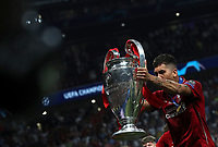 Liverpopol's Roberto Firmino holds up the trophy at the end of the UEFA Champions League final football match between Tottenham Hotspur and Liverpool at Madrid's Wanda Metropolitano Stadium, Spain, June 1, 2019. Liverpool won 2-0.<br /> UPDATE IMAGES PRESS/Isabella Bonotto