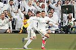 Real Madrid's Mariano Diaz (r) and Lucas Vazquez celebrate goal during La Liga match. March 1,2020. (ALTERPHOTOS/Acero)