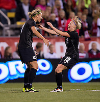 Hannah Wilkinson (17) of New Zealand celebrates her goal with teammate Betsy Hassett (12) during an international friendly at Crew Stadium in Columbus, OH. The USWNT tiedNew Zealand, 1-1.