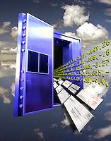 Studio shot, composite digital illustration - bank vault & email or mail, e-commerce.
