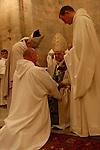 Israel, Jerusalem Mountains. Latin Patriarch conducting the Ordination ceremony of Brother Olivier at the Crusader Church in Abu Gosh