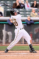 April 27, 2009:  Matt Brown of the Salt Lake Bees, Pacific Cost League Triple A affiliate of the Los Angeles (Anaheim) Angles, during a game at the Spring Mobile Ballpark in Salt Lake City, UT.  Photo by:  Matthew Sauk/Four Seam Images