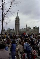 le jour du rapatriement de la constitution canadienne<br /> , en presence de la Reine, le 17 avril 1982<br /> , a Ottawa<br /> <br />  - PHOTO D'ARCHIVE :  Agence Quebec Presse