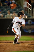 Aberdeen IronBirds Adley Rutschman (35) hits a three run RBI triple during a NY-Penn League game against the Vermont Lake Monsters on August 19, 2019 at Leidos Field at Ripken Stadium in Aberdeen, Maryland.  Aberdeen defeated Vermont 6-2.  (Mike Janes/Four Seam Images)