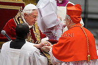cardinal Manuel Monteiro de Castro from Pope Benedict XVI leads the Consistory where he will appoint 22 new cardinals on February 18, 2012 at St Peter's basilica at the Vatican.