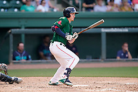 Left fielder Tyler Dearden (24) of the Greenville Drive in a game against the Asheville Tourists on Sunday, June 6, 2021, at Fluor Field at the West End in Greenville, South Carolina. (Tom Priddy/Four Seam Images)