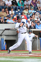 Trevor Matsui (41) of the Hillsboro Hops bats during a game against the Salem-Keizer Volcanoes at Ron Tonkin Field on July 26, 2015 in Hillsboro, Oregon. Hillsboro defeated Salem-Keizer, 4-3. (Larry Goren/Four Seam Images)
