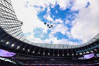 10th October 2021; Tottenham Hotspur stadium, London, England; NFL UK Series, Atlanta Falcons versus New York Jets: F-15 from RAF Lakenheath perform a fly by before kick off