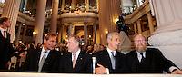 9.Oktober 1989 in Leipzig - Freidensgebet in  der Nikolaikirche - erste Reihe: v.l.n.r. OBM Leipzig Burkhard Jung, Bundespräsident Horst Köhler, Ministerpräsident Sachsen Stanislaw Tillich und Wolfgang Thierse. Porträt . Foto: Norman Rembarz..Norman Rembarz , Autorennummer 41043728 ,Holbeinstr. 14, 04229 Leipzig, Tel.: 01794887569, Hypovereinsbank: BLZ: 86020086, KN: 357889472, St.Nr.: 231/261/06432 - Jegliche kommerzielle Nutzung ist honorar- und mehrwertsteuerpflichtig! Persönlichkeitsrechte sind zu wahren. Es wird keine Haftung übernommen bei Verletzung von Rechten Dritter. Autoren-Nennung gem. §13 UrhGes. wird verlangt. Weitergabe an Dritte nur nach  vorheriger Absprache..