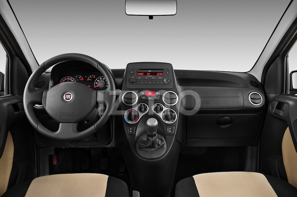 Straight dashboard view of a 2009 Fiat Panda 5 Door 4x4.