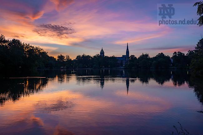 July 15, 2020; Sunrise over St. Mary's Lake. (Photo by Barbara Johnston/University of Notre Dame)