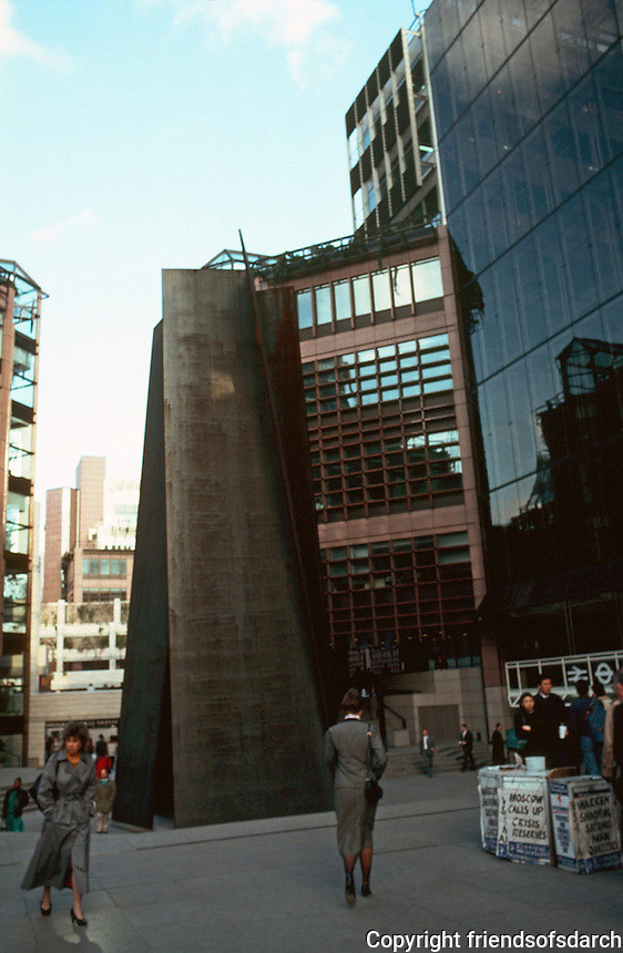 London:  Broadgate Complex--Liverpool St. Entrance and access to Station, right.  Photo '90.