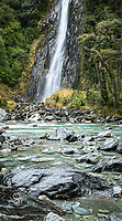 Thunder Falls and Haast River, Mount Aspiring National Park, UNESCO World Heritage Area, New Zealand, NZ
