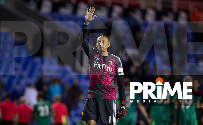 Goalkeeper Heurelho Gomes of Watford waves at full time during the Carabao Cup Round 2 match between Reading and Watford at the Madejski Stadium, Reading, England on 29 August 2018. Photo by Andy Rowland
